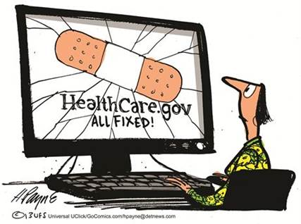 Healthcare.gov all fixed: Cracked screen with a large Band-Aid