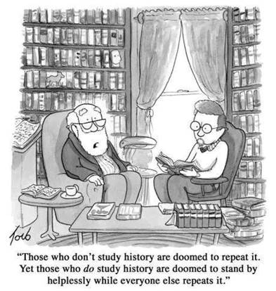 Those who don't study history are doomed to repeat it. Yet those who do study history are doomed to stand by helplessly while everyone else repeats it.
