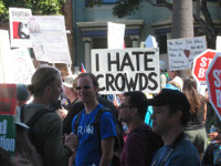 Protest sign: I hate crowds