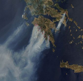 MODIS website: NASA photo of fires in Greece as seen from space