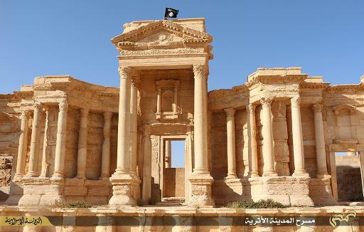 ISIS flag over Palmyra ruins