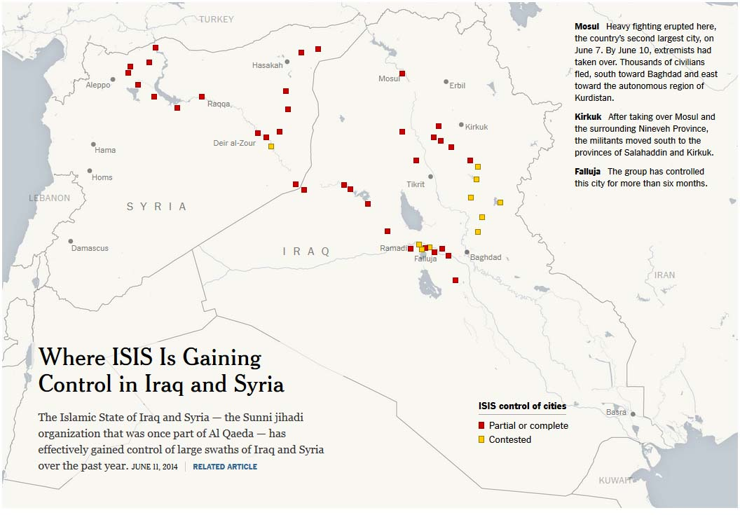 ISIS-controlled territories in Syria and Iraq