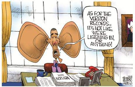 Obama with huge ears: 'As for the Verizon records...It's not like we're listening in or anything'