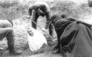 Iran: a woman being prepared for stoning to death