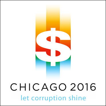 Logo for campaign against the Chicago bid to host the Olympics: 'CHICAGO 2016: let corruption shine'