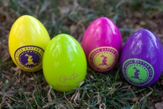 Phony fiberboard Easter eggs with Obama logo