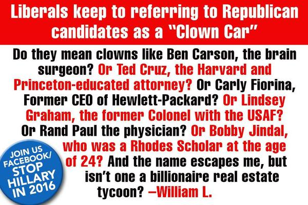 Liberals keep referring to GOP candidates as a 'clown car'