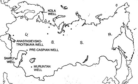 Location of Kola well and other deep bores