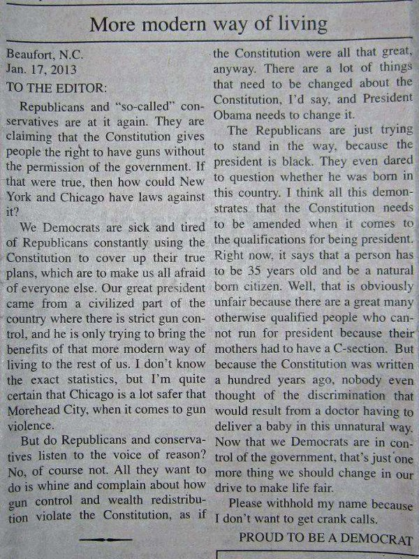 Low-information Democrat letter to the editor