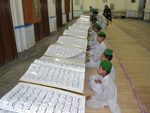 Boy students in a madrassa