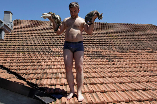 Man rescues cats from roof in Vojskova, Bosnia