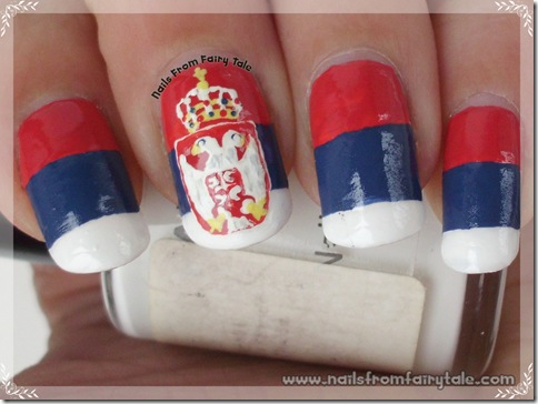 Serbian flag fingernails