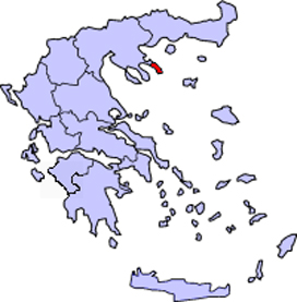 Map of Greece with Mount Athos shown in red