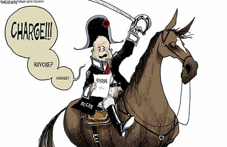 John McCain in Napoleon hat attempting to lead a charge on Syria