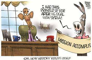Oh, how history repeats itself! Mission Accomplished banner: 'I had this printed up for AFTER we deal with Syria!'