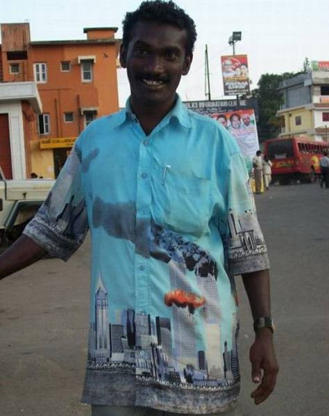 Muslim man proudly wearing shirt with photo of 9-11-01 attack