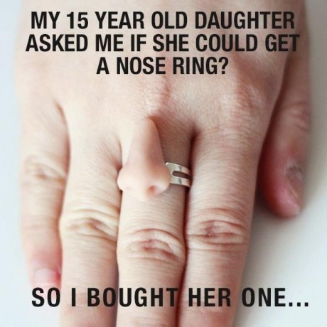 My 15-year-old daughter asked me if she could get a nose ring, so I bought her one
