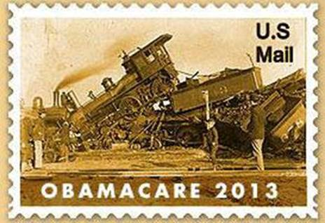 Obamacare train wreck 2013 stamp of disapproval