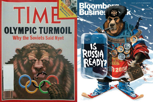 1980 and 2014 magazine covers, both with menacing Russian bear caricatures