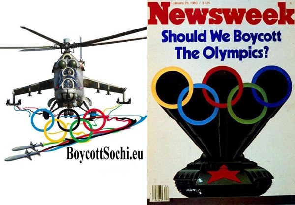 EU 2014 boycott poster with Russian helicopter; Newsweek 1980 cover with Soviet tank