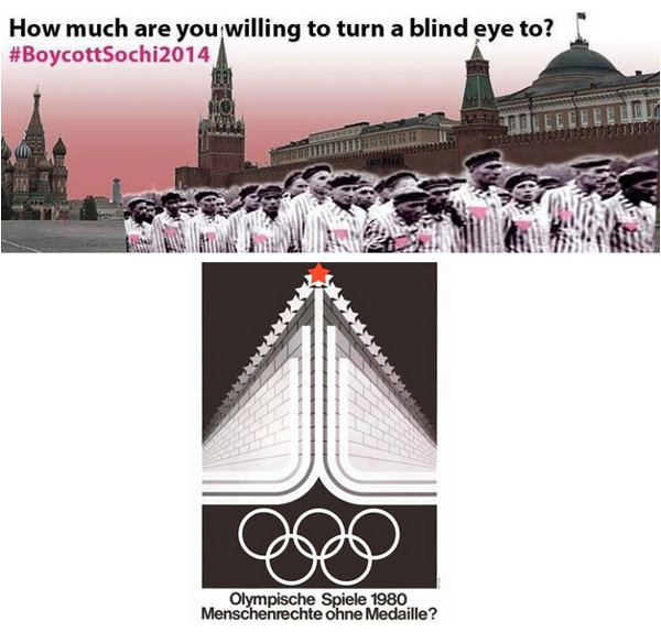 2014 boycott poster with wall of the Kremlin; 1980 boycott poster with what appears to be the Berlin Wall
