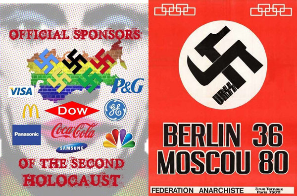 Gay boycott poster from 2014 and anarchist boycott poster from 1980, both showing swastikas