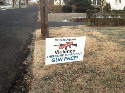 Yard sign: Citizens Against Senseless Violence. THIS HOME IS PROUDLY GUN FREE!
