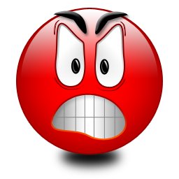 Angry red smiley with raised eyebrows
