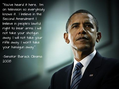 Sen. Barack Obama in 2008, lying about his willingness to uphold the Second Amendment