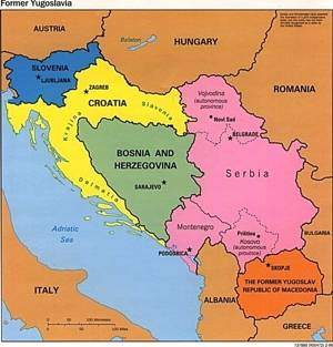 Map of the former Yugoslavia