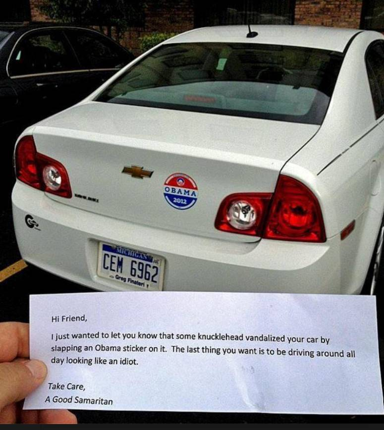 Note to place on car with Obama bumper sticker