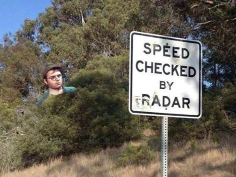 Speed checked by radar (namely, Radar O'Reilly from M*A*S*H)