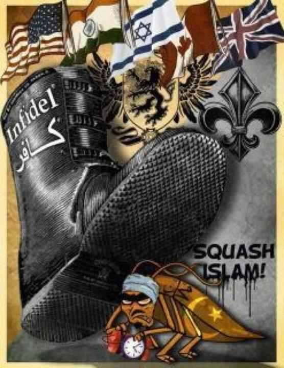 Squash Islam: boot labeled 'Infidel' stepping on insect that is setting up a time bomb