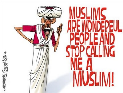 Caricature of Obama in Muslim garb, saying 'Muslims are wonderful people and stop calling me a Muslim!'