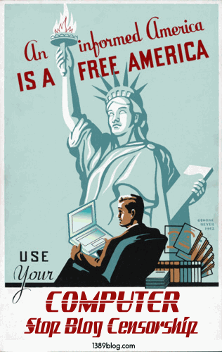Image of man with laptop in front of Statue of Liberty: Stop Blog Censorship