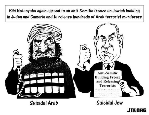 Cartoon: Muslim with suicide belt, and Binyamin Netanyahu signing agreement to release terrorists and to prevent Israeli Jews from constructing settlements