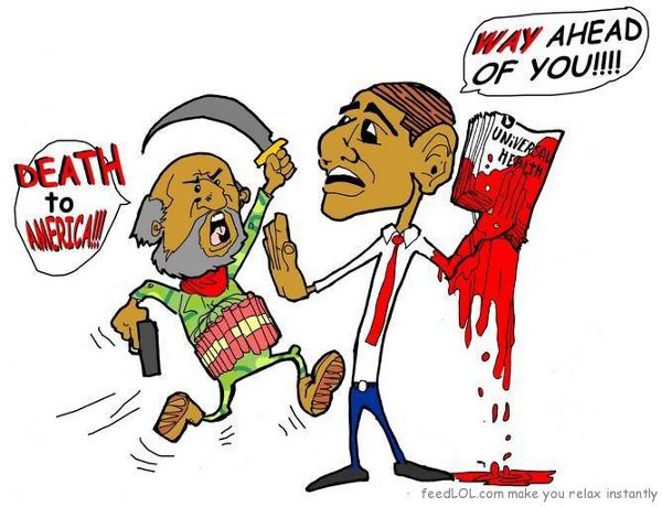 Suicide bomber: 'Death to America!' Obama holding universal health care act, dripping with blood: 'Way ahead of you!'