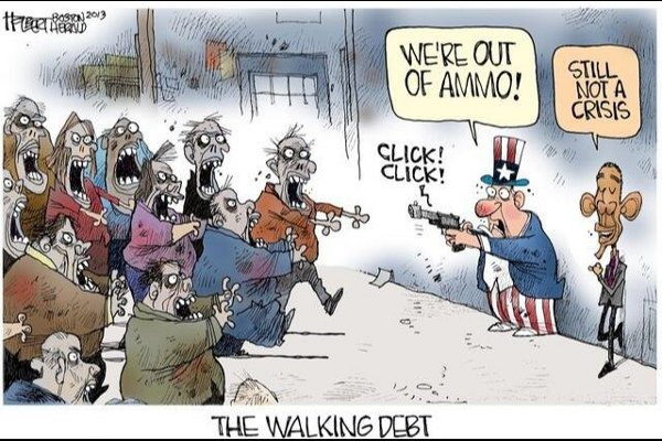 The walking debt - Uncle Sam: 'We're out of ammo!' Obama: 'Still not a crisis'