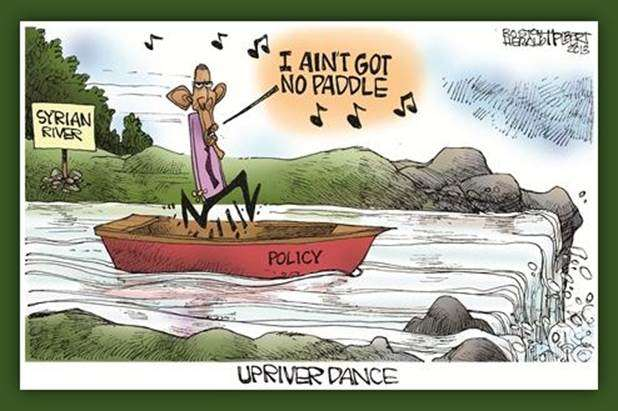 Upriver Dance: Obama in a boat in the Syrian River, about to go over a waterfall, singing 'I ain't got no paddle'