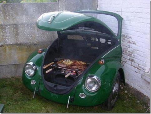 Front end of VW Beetle repurposed as charcoal grill
