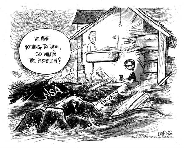 Naked man in bathtub in house partly washed away by NSA tsunami: 'We have nothing to hide, so what's the problem?'