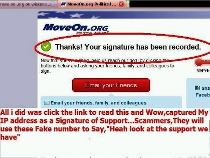 MoveOn.org viewed without a secure proxy