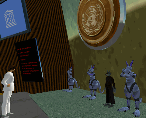 "Protest against ""virtual UN"" in Second Life, featuring cyborg kangaroos"